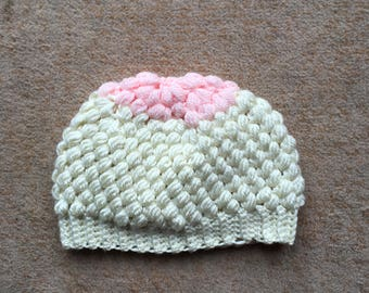 Cream and baby pink puff hat