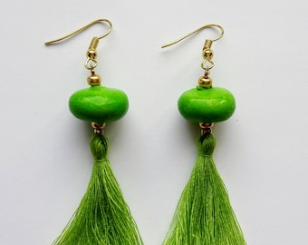 Earrings Disc Apple Green