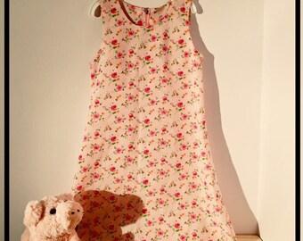 Little girls floral summer dress + zip