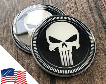 2PCS Jeep Wrangler Custom Badge Emblem (Trail Rated) 07-18 The Punisher