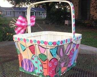 Easter basket, easte egg basket, girl easter basket, hand painted easter basket, basket, customized basket, monogram basket