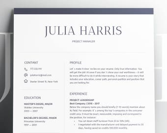 Modern Resume Template CV Template + Cover Letter | Professional and Creative Resume | Clean Resume | Simple Resume Digital Instant Download
