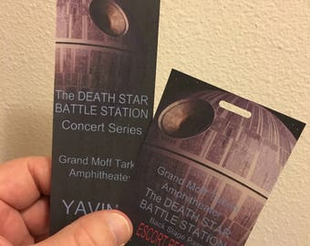 Star Wars Death Star concert series back stage pass and concert tickets, set of 2