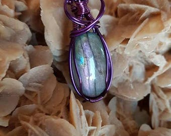 Purple copper pendant and the bradorite