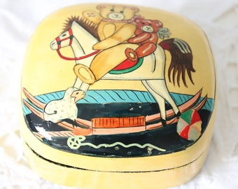 Cute Vintage Paper Mache Laquered Child's Trinket Box, Hand Painted Toy Decor, Small Storage Box