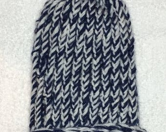 White and Blue Baby Hat