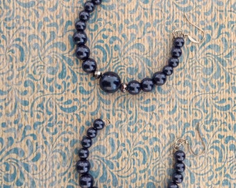 Large denim blue faux pearl earrings with faceted silver accent beads