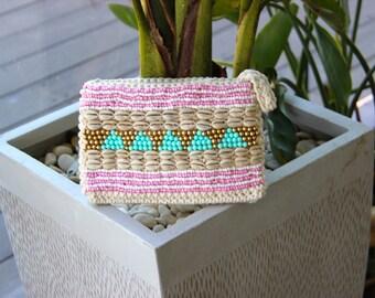 Beaded Clutch - Crochet Bag - Boho Clutch - Gypsy Clutch - Shell Clutch