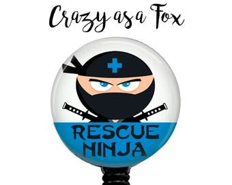 Rescue Ninja Retractable Badge Holder, Badge Reel, Lanyard, Stethoscope ID Tag, Nurse, EMT, ER Nurse