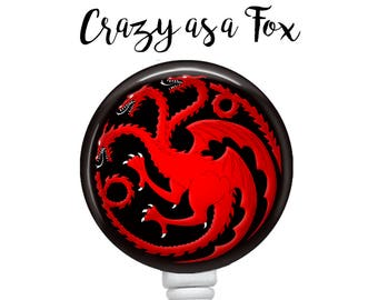 Game of Thrones Targaryen  Retractable Badge Holder, Badge Reel, Lanyard, Stethoscope ID Tag, Teacher, Nurse, MD Gift