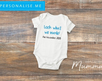 Look What We Made Pregnancy Announcement, New Baby Bodysuit, Personalised Baby Onesie