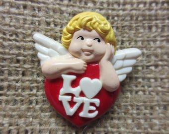"""Vintage Avon Plastic pin, Cherub Angel with """"Love"""" Heart, Valentine's Day Brooch"""