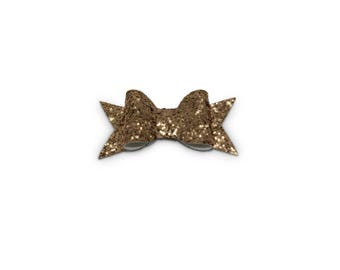 Small Rose Gold Glitter Hair Bow With Tails