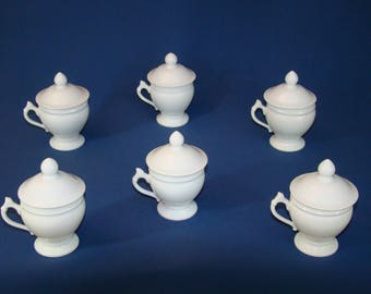 cream white porcelain 6 jars