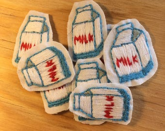 Hand Embroidered Milk Carton Sew On Patch