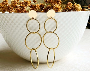 Three ring folded Earrings / Gold plated earrings,romantic, Simple,Atmosphere