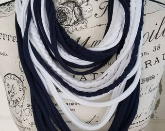 T-Shirt Scarf, Navy Blue and White, Braided, Penn State Colors
