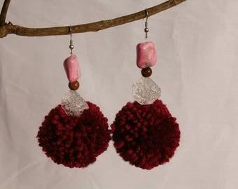 Handmade plum purple pom pom dangle earrings, pink, purple and clear beads, fashion earrings