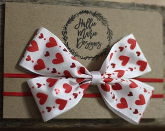 Red headband, Valentines day headband, newborn headband, infant headband,hearts