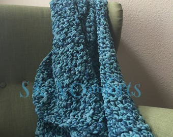 Ready to Ship ** Finger Crocheted Blanket|Teal Blanket|Throw Blanket