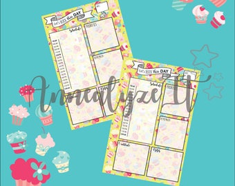 Mini Happy Planner - Cupcake Nation Daily Layout (Yellow)