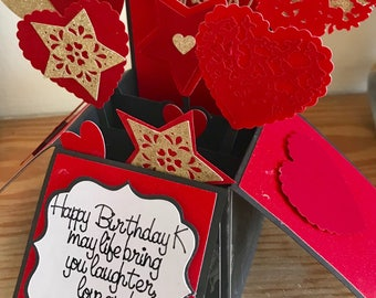 Red & Gold Heart Birthday Box Card