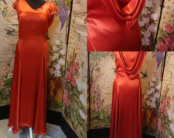 1930s Coral Satin Bias Cut Evening Dress