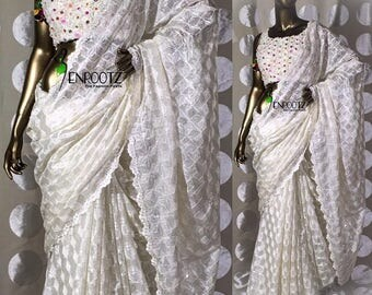 White Fulkari Saree