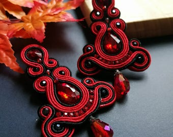 Soutache Earrings Statement Elegant Dangle Drop Earrings Red Ruby and Black Earring