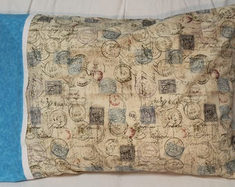 Handmade Passport Stamp Pillowcase