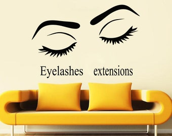 Wall Decal Window Sticker Beauty Salon Woman Face Eyelashes Lashes Eyebrows Brows t673