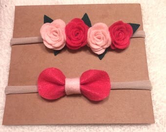 Felt Flower headband, felt bow, nylon headband, pink set, purple set, mint set
