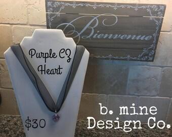 Purple Cubic Zirconia Heart