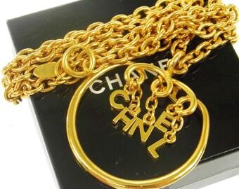 Chanel Paris. Vinge Fringe Logo Chains Pendant Necklace Vintage