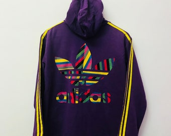 FREE SHIPPING!!! Vintage Adidas Hoodies Big Logo Purple Colour Extra Large Size