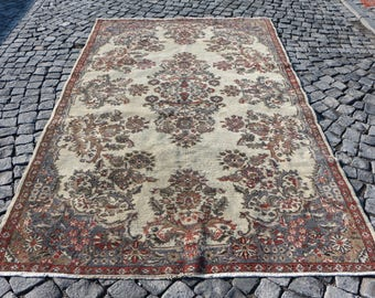 Floral Turkish Rug Free Shipping 5.8 x 9.4 ft. Bohemian Area Rug Oushak Floor Rug Decorative Wool Rug Home Design Rug Good Condition MB38