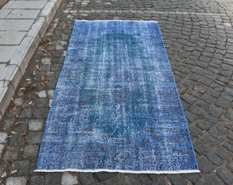 Turquoise Color Over dyed Rug 3.5 x 7.1 ft. Free Shipping Turkish Rug Rare Small Area Rug Oushak Vintage Floor Rug Home Decor Floor Rug MB86