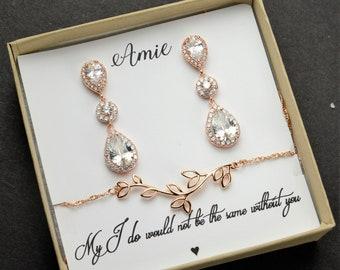 Bridesmaid Gift,Rose gold Bridesmaid Earrings,Bridesmaids Gifts set of  4 5 6 7 8,wedding earrings, bridal earrings ,bridesmaid necklace