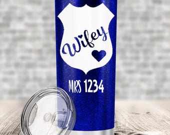 Glitter tumbler-Police Wifey