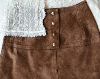 Vintage suede skirt, suede skirt, vintage skirt
