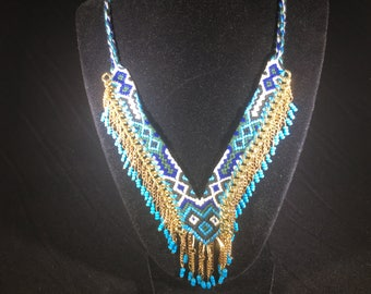 Southwestern Style necklace shaeds of blue