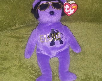 Elvis Ty Beanie Purple Sings Teddy Bear