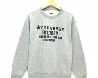 Rare!!! Vintage Converse Sweatshirt Big Spell Out Pullover Jumper Sweater Crew Neck L Size