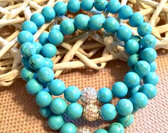 Turquoise & Crystal Beaded Bracelets