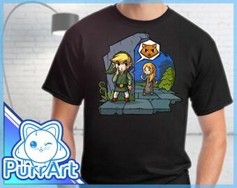 MEOW - Zelda T-Shirt Zelda Shirt The Legend of Zelda Wind Waker Shirt Link Tee Cat Meow Zelda Shirt