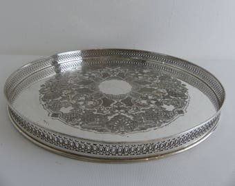 Vintage Silver Plated Galleried Tray (EI10)
