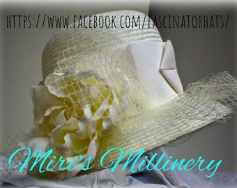 White Straw Cloche with wide petersham ribbon and silk flower