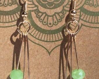 Jade and rose gold dangle earrings