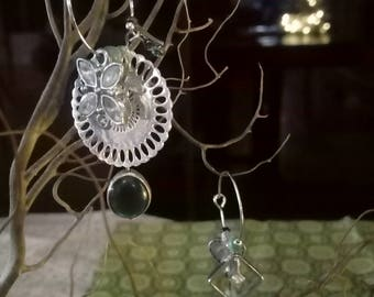 """Print round Silver"" earrings"