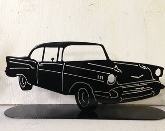Plasma cut, steel, metal art, 1957 Chevy Bel Air, 1957 bel air, car, welded, powder coat, black, garage, entryway, nightstand, decoration